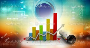 3d business growth graph in digital background